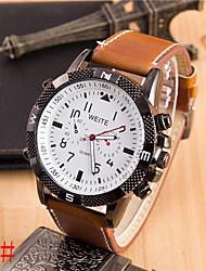 Недорогие -Geneve мужская кожа группы кварцевые аналоговые часы случайным (ассорти цветов)