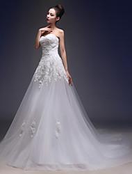 economico -Linea-A A cuore Strascico da cappella Di pizzo Tulle Vestito da sposa con Con applique di CHQY