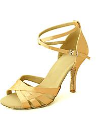 cheap -Women's Latin Shoes / Salsa Shoes Satin Sandal Buckle Customized Heel Customizable Dance Shoes Yellow / Fuchsia / Purple / Leather