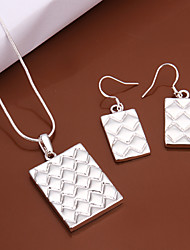 cheap -Women's Silver Plated Jewelry Set - Basic Square Silver Drop Earrings / Necklace For Wedding / Party / Daily