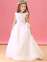 cheap -A-Line Floor Length Flower Girl Dress - Organza Satin Short Sleeves Bateau Neck with Lace Sash / Ribbon Pleats by 21KIDS