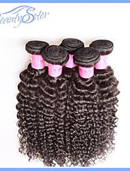 Недорогие -4шт ткет много 6а бразильского Виргинские волос кудрявый фигурные необработанные расширения человеческих волос натуральный черный волос