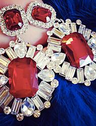 abordables -Pendientes colgantes Joyería de Lujo Estilo lindo Piedras preciosas sintéticas Diamante Sintético Joyas Para Fiesta