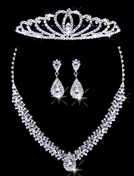cheap -Women's Rhinestone Jewelry Set Include Earrings Necklace Tiaras - Alloy For Wedding Special Occasion Anniversary Birthday Engagement Gift