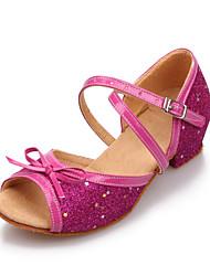 cheap -Women's/Kids' Dance Shoes Latin Leatherette/Paillette Flat Heel Pink/Silver/Gold