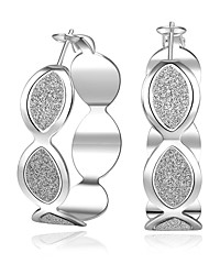 lureme® Fashion Style Silver Plated Drop Shape Shiny Hoop Earrings