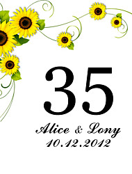 cheap -Personalized Square Table Number Card--Sunflower (Set fo 10)