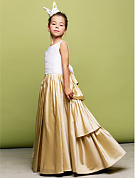A-Line Princess Floor Length Flower Girl Dress - Taffeta Sleeveless Jewel Neck with Ruching by MYF