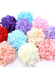 cheap -6 Inch Foam Santin Artifiical Kissing Rose Flowers Balls Wedding Bouquet Car Decoration
