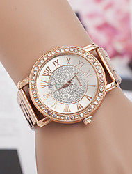 yoonheel Femme Montre Diamant Simulation Montre Tendance Quartz Suisse Designer Imitation de diamant Métallique Bande Or Rose