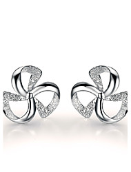 cheap -Women's Leaf Sterling Silver Stud Earrings - Good Luck Leaf For