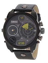 baratos -JUBAOLI Homens Relógio Militar Dois Fusos Horários Couro Banda Amuleto / Fashion