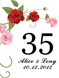 cheap -Personalized Square Table Number Card-Red Rose (Set of 10)