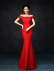 cheap -Mermaid / Trumpet Off Shoulder Floor Length Lace Formal Evening Dress with Lace by LAN TING Express