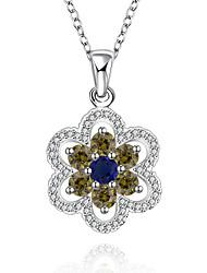 Женский Ожерелья-бархатки Ожерелья с подвесками Кулоны Стерлинговое серебро Циркон Цирконий Драгоценный камень бижутерия Бижутерия