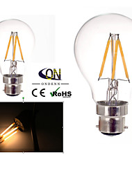 cheap -B22 LED Filament Bulbs A60(A19) 4 COB 400lm Warm White 2800-3200K Dimmable AC 220-240 AC 110-130V