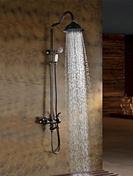 cheap -Oil-rubbed Bronze Wall Mounted Waterfall Rain + Handheld Shower Faucet