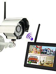 "preiswerte -neue Wireless 4-Kanal-DVR 1 Quad-Kameras mit 7 ""TFT-LCD-Monitor Home Security System"