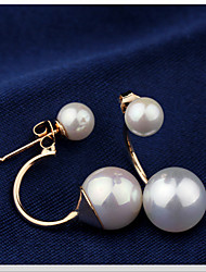 Lucky Star Women's Elegant Imitation Pearl Arc Earrings