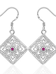 cheap -Earring Square Jewelry Women Fashion Wedding / Party / Daily / Casual / Sports Silver Plated 1 pair Silver