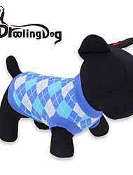 economico -Gatto / Cane T-shirt Abbigliamento per cani A quadri Rosso / Blu Cotone Costume Per animali domestici
