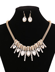 cheap -Women's Crystal Cubic Zirconia Jewelry Set Statement Necklace  -  Luxury Gold Necklace For Party