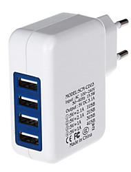 Недорогие -4000mA четыре порта USB Power Adapter / зарядное устройство (100 ~ 240 В / ЕС Plug)