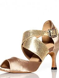 Women's Dance Shoes Latin Satin Flared Heel Black/Blue/Gold