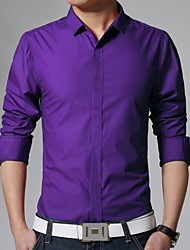 Men's Fashion Slim Solid Color Long Sleeved Shirt