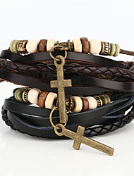 cheap -Vilam® Vintage Crucifix Wood Bead Black/Brown Handmade Woven Leather Bracelet Jewelry Christmas Gifts