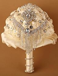 economico -Bouquet sposa Tondo Bouquet Matrimonio Poliestere Raso Pizzo Perline Strass 20 cm ca.
