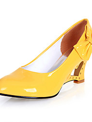 cheap -Women's Shoes Leatherette Spring / Summer Novelty Wedge Heel Bowknot Black / Yellow / Red / Dress