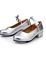 cheap -Women's Tap Shoes Leather Heel Bowknot Chunky Heel Non Customizable Dance Shoes Red / Silver / Gold