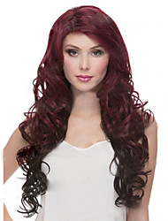 cheap -Synthetic Wig Curly Burgundy Asymmetrical Haircut Synthetic Hair Natural Hairline Burgundy Wig Women's Long Capless