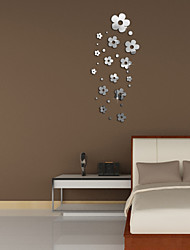 Mirror Wall Stickers Wall Decals, Creative Flowers DIY Mirror Acrylic Wall Stickers