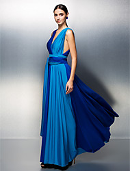 A-Line V-neck Floor Length Jersey Prom Formal Evening Dress with Sash / Ribbon Pleats by TS Couture®