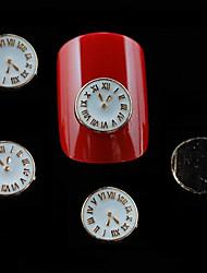 10pcs bijeli metal oblik sat DIY nail art ukras