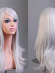 cheap -Synthetic Wig Curly / Natural Wave Asymmetrical Haircut Synthetic Hair Natural Hairline White Wig Women's Medium Length / Long Cosplay Wig