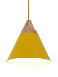 cheap -Mini Artistic Cone Pendant Lamp/1 Light/Mordern Simplicity/Finish Black/White/Yellow/Aluminum & Wooden Droplight