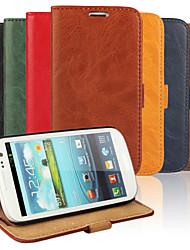 Недорогие -Кейс для Назначение SSamsung Galaxy Кейс для  Samsung Galaxy Бумажник для карт Кошелек со стендом Флип Чехол Сплошной цвет Кожа PU для S3