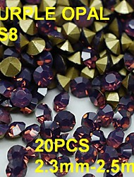 cheap -SS8 20pcs/lot 2.3mm-2.5mm Purple Opal Rhinestone For Nail Jewelry Golden Point Back 3D Rhinestones Decoration