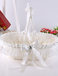 "cheap -Flower Basket Satin Silk 6 3/4"" (17 cm) Bowknot Faux Pearl Ribbons 1"
