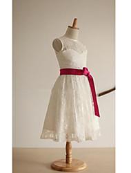 aラインの茶色の長さの花の女の子のドレス - thstyleeによるリボンのレースサテンノースリーブの宝石の首