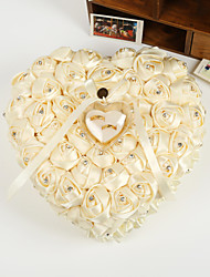 Heart Shape Rose Flower Pearl Ring Box Pillow for Wedding(26*26*14cm)