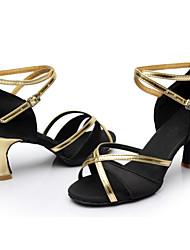Women's Dance Shoes Satin Satin Latin / Dance Sneakers Heels Cuban Heel Indoor / Performance Black / Blue / Brown / Red Customizable