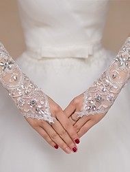 cheap -Lace Elbow Length Glove Bridal Gloves / Party / Evening Gloves / Flower Girl Gloves With Rhinestone / Sequin