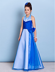 A-Line Halter Floor Length Organza Taffeta Junior Bridesmaid Dress with Beading Bow(s) Criss Cross by LAN TING BRIDE®