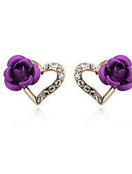 cheap -HKTC Purple Rose Flower Heart Stud Earrings 18k Rose Gold Plated Austrian Crystal Jewelry