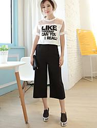 Mulheres Calças Casual Largas Misto de Algodão Micro-Elástica Mulheres