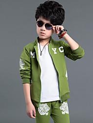 povoljno -Dječaci Proljeće Jesen Dugih rukava Komplet odjeće Crn Sive boje Zelen